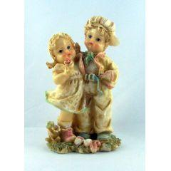 Kinderpaar Nizza Steinharz 3 Motive Geschenkidee pastellfarbig glasiert