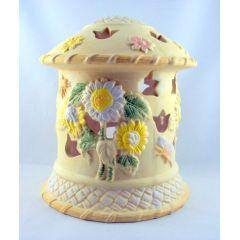 Großes Windlicht Keramik Deko Teelichthalter pastellfarbig