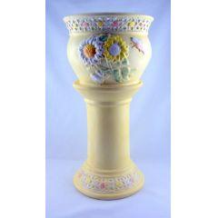 Großes Postament Keramik verziert Deko 2-teilig pastellfarbig