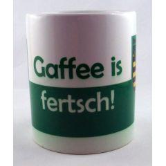 Tasse Gaffee is fertsch Kaffeetasse Sachsen Porzellan Deko