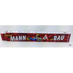 Zollstock Bester Mann am Bau Gliedermaßstab aus Buchenholz mit witzigem, humorvollem Spruch