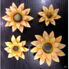 Keramik  Sonnenblumen Set 4 Größen niedliche gelbe Sonnenblumen zum Dekorieren und verzieren