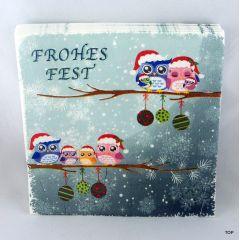 Servietten 20er Pack Weihnachts- Servietten Eule 3-lagig aus Papier 1/4-Falz 33 cm x 33 cm Deko coole Motive