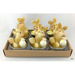 6er Set Teelichter Hase Osterhase Kerze Ostern Tischdekoration