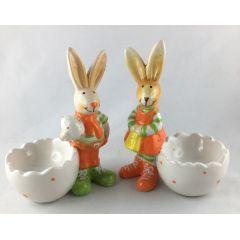 2 Eierbecher Osterhase Keramik Dekotopf Ostern Tischdekoration