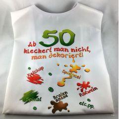 XL Latz - Ab 50 kleckert man nicht, man dekoriert Lätzchen für Erwachsene witzige Party Gag Geburtstag