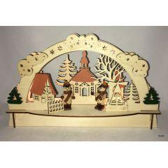 Schwibbogen Lichterbogen 7 LED Holz Stimmungsleuchter Fensterbild Weihnachtsdeko TOP!