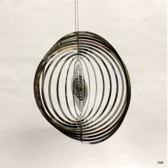 Spirale Edelstahl Hochglanz poliert Windspiel Kugelform Rostfrei Höhe 14 cm