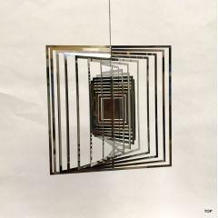 Spirale Edelstahl Hochglanz poliert Windspiel Quadratform Rostfrei Höhe 14 cm