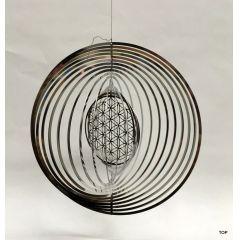 Spirale Edelstahl Hochglanz poliert Windspiel Kugelform Rostfrei Höhe 18 cm