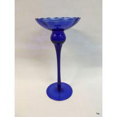 Glas Kerzenhalter Blau Kerzenständer für Spitzkerzen Kugelkerzen