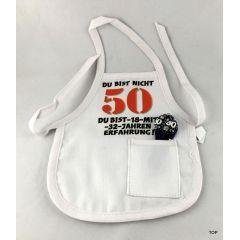 Flaschen Schürze Mini Schürze DU BIST NICHT 50 Eine originelle Art Flaschen zum 50. Geburtstag zu verschenken