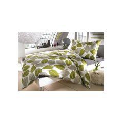 Auro Hometextile, 1 Duvet 160x210 cm und 1 Pfulmen 65x100 cm, farbe grün/ grau