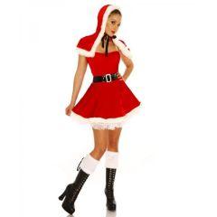 Weihnachtsmann-Petticoat-Kostüm rot/weiß Größe XS-M