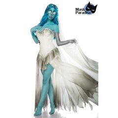 Skeleton Bride Kostüm weiß/blau Größe M