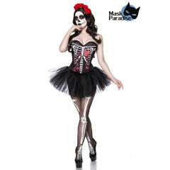 Day of the Dead Kostüm: Skull Senorita schwarz/weiß/rot Größe M