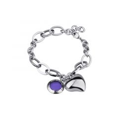 Damenarmband / Armband aus Edelstahl mit Herz & Kristall in Amethyst, 23 cm