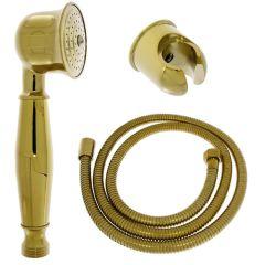 Handbrause, Brausehalter und Brauseschlauch aus Messing mit Goldoberfläche