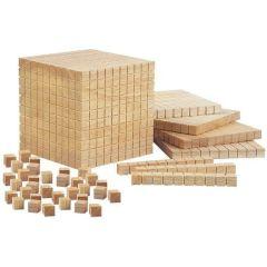Mathematische Holzwürfel Montessori Zahlen lernen im Kindergarten Schule Mengenlehre Mathematik üben