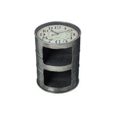 Beistelltisch mit Uhr Couchtisch Ablagetisch Tisch Fass Tonne Beistelltisch Metall Glas rund