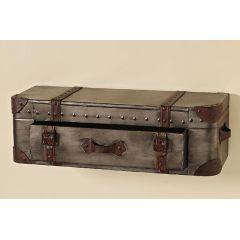 Wandregal Koffer mit Schublade braun Regal Wand Wandkonsole Sideboard Shabby Metall Nostalgie
