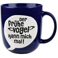 Becher Der frühe Vogel kann mich mal blau Tasse Geschenk Porzellan Tee Milch