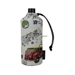 Flasche 0,4 Liter Hippie Glasflasche Trinkflasche Isolierflasche Germany Thermobecher Glas