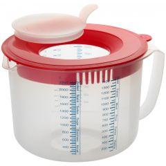 Messbecher Rührbecher 2,2 l Messkanne Messbehälter Kunststoff Backschüssel Rührschüssel