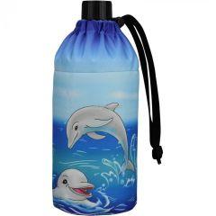 Flasche 0,4 Liter Delfine Glasflasche Trinkflasche Isolierflasche Glas Delfin Delphin Delphine