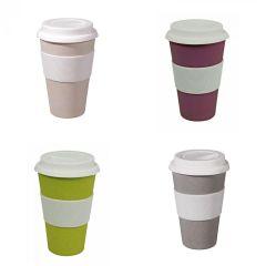 Zuperzozial Reisebecher Autobecher Becher Coffee to go Kaffeebecher weiß grau violett lila gelb Tasse