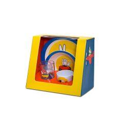 Kindergeschirr Set 4tlg. Miffy Travel Kindergeschirr Teller Motivgeschirr Glas Tasse Schüssel