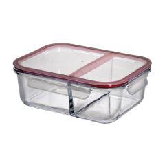 Lunchbox groß Vorratsdose groß Brotdose Brotbox Glas Klickverschluss zwei Fächer