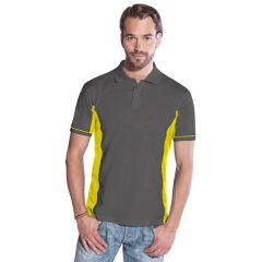 Promodoro Men´s Function Contrast Polo graphit - neongelb, Gr. 2XL