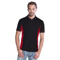 Promodoro Men´s Function Contrast Polo schwarz - rot, Gr. 2XL