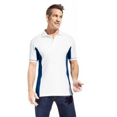 Promodoro Men´s Function Contrast Polo weiss - indigo blau, Gr. 2XL