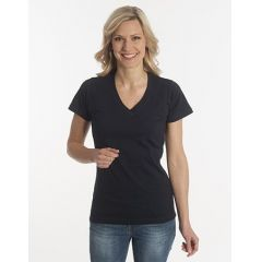 Damen T-Shirt Flash-Line, V-Neck, schwarz, Grösse M