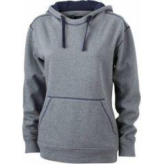 JN Ladie´s Lifestyle Zip-Hoody Grau melange - Navy, Grösse S