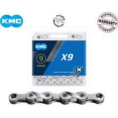 KMC FahrradKette X9 Silber 114 Glieder 9-fach (27-Gänge) incl. Verschluss