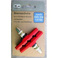 V-Brake Bremsschuhe Bremsbeläge Bremsgummis 1 Satz (2 Stück) Rot 70mm