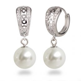 Verzierte Creolen aus 925 Silber Rhodium mit runder Perle 10mm