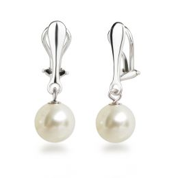 925 Silber Clips Hänger mit 10mm großen synth. Perlen, Perlenohrringe Ohrclips, Farbwahl