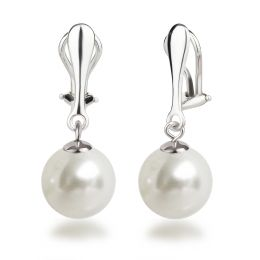 Ohrclips Hänger mit 12mm großen synth. Perlen, Perlenohrringe 925 Silber Clips, Farbwahl