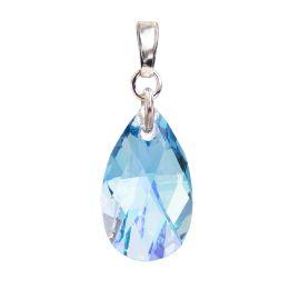 Schmuckanhänger 925 Silber rhodiniert mit Swarovski® Kristall Tropfen 22mm groß, verschiedene Farben