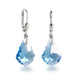 Ohrringe 925 Silber mit kleinen Swarovski® Kristall Tropfen Barock