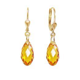 Ohrringe hochwertig vergoldet mit Swarovski® Kristall Briolette, Ohrhänger in vielen Farben