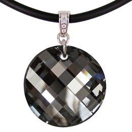 Großer runder Swarovski® Kristall Twist Anhänger in 925 Silber Rhodium mit Kautschukband, viele Farben