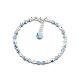Funkelndes Armband aus 4mm Swarovski® Kristallperlen und 925 Silber, Farbwahl