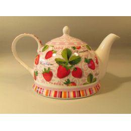 Teekanne Dekor Erdbeere, Brillantporzellan