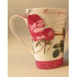Becher Dekor Rose weiß, Brillantporzellan