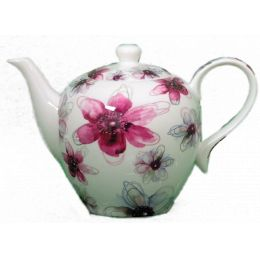 Jameson und Tailor, Teekanne Dekor Blüten Pink, Brillantporzellan